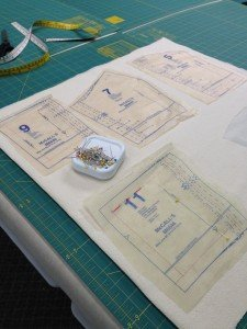 Laying out the pattern to sew the muslin.