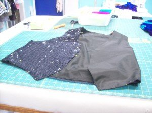 Adding the sequined fabric.