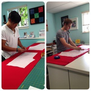 Learning proper laying out and cutting of fabric.