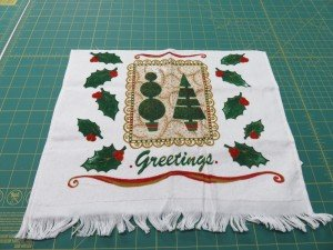 Holiday Hand towel cut in half.